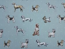 Clarke and Clarke Best of Show Dogs Duckegg Curtain Upholstery Craft Fabric