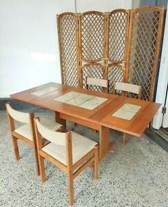 Gangso Mobler MidcenturyModern Danish Drop Leaf Dining Table & 4 Dining Chairs