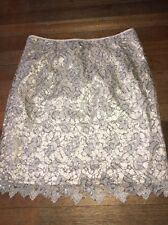 SIZE EUR 34 H&M NUDE CROCHET SKIRT & SILVER SEQUINS TOWIE/SUMMER/HOLIDAY RRP £30
