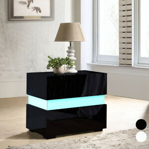 Chest of 2 Drawers Nightstand Home Bedside Table Cabinet High Gloss + LED Lights
