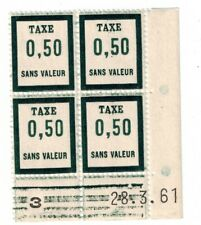 Timbre fictif Taxe N° 13 coin daté du 28-3-61 Neuf **