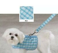East Side Collection Blue Madras Plaid Harness Vest & Lead Sz Small Lightweight