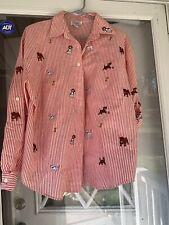 Teddi of California Womens Top Shirt Long Sleeve Puppy Dogs Stripes Sz Medium