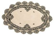 11 x 17 INCH OVAL ECRU CLUNY LACE EMBROIDERED MATS 100% COTTON QUALITY (05216)