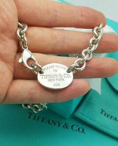 """Return to Tiffany & Co. Oval Pendant Tag Choker 15.5"""" Silver Necklace, RRP £620"""