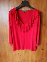 RALPH LAUREN T-SHIRT TOP Red T-Shirt Ruffle Neck L / UK 12 / 40 - NEW
