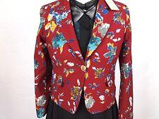 New Designer Labeled SDF Line Floral Flowers Patterned Deep Red Blazer jacket