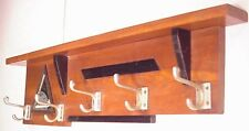 Art Deco Oak Coat wall Rack W/ 5 Hooks Hardware clock shelf kitchen copper pot