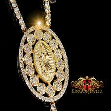 "MEN WOMEN DESIGNER ROSARY NECKLACE 14K YELLOW GOLD FINISH WHITE LAB DIAMOND 32"""