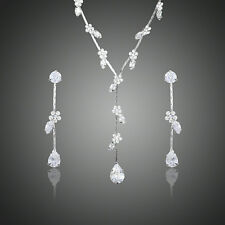 Platinum Plated Clear Cubic Zirconia Flower Water Drop Earrings Necklace Set 854