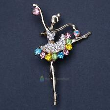 Dancing Ballet Ballerina Angel Brooch Pin Clear AB Crystal Silvertone Fashion