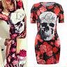 Sexy Women Floral Skull Printed Short Sleeve Bodycon Evening Clubwear Mini Dress