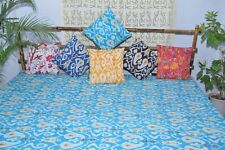 Blue Kantha Bedspread, Twin Size comforter.Teen bedding Ikat quilt