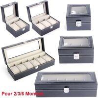 PU Cuir Présentoir à Montre Bijoux Étui de 6 Montres Boîte Boîtier de Rangement