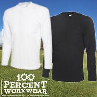 Uneek Premium Quality Mens Work Tee T Shirt Long Sleeve 100% Cotton White Black