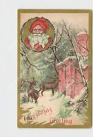 ANTIQUE POSTCARD CHRISTMAS GREETING SANTA REINDEER