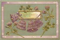 Easter~Bells Of Purple Clover Ring~Shamrocks~Textured Back~Emboss~1909~Langsdorf