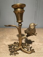 Vintage Solid Brass Bird on a Branch Candle Holder