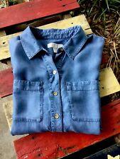 MICHAEL Michael Kors Size Large Top Blouse Blue Chambray Denim Cap Sleeve Shirt