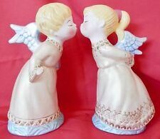 "2 Vintage Ceramic Kissing Angels 9"" bearing gifts Gold Gowns"