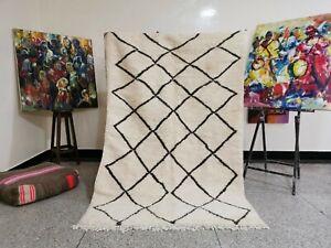 "Berber Moroccan Handmade Rug Beni Ouarain Black & White Abstract Rug 4'1"" x 7'5"