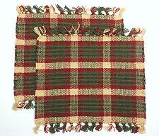 "Set of 2 HEARTLAND Dark Red, Green, Cream Plaid Woven Cotton 13"" x 13"" Tablemats"