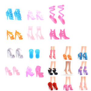 Doll Shoes High Heels Sandals Boots Mix Style For Doll Colorful 10 Pairs `