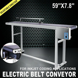 Belt Conveyor PVC Electric Conveyor Machine W Stainless Steel  Guardrail