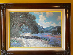 W.A. Slaughter Texas Bluebonnets Hill Country Giclée On Canvas Print Framed