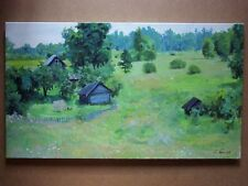 ORIGINAL ACRYLIC STRETCHED PAINTING UKRAIN RURAL LANDSCAPE ART BY ARTIST
