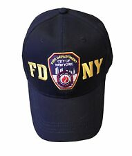 FDNY BASEBALL HAT BALL CAP NAVY YELLOW FIRE DEPARTMENT NEW YORK  BADGE MENS