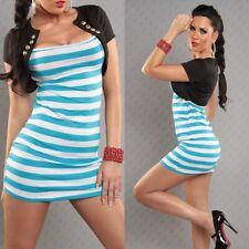 Damen 2in1 kurzarm stretch Minikleid / Kleid / Tunika gestreift schwarz / weiß /