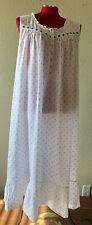 eileen west women's xl 100% woven cotton white Blue  long nightgown sleeveless