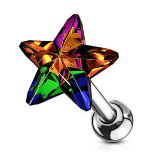 """1 PC 16g 1/4"""" CZ 5MM Crystal Star Tragus Cartilage Barbell  Stud Earring #D"""