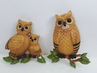 Vintage Home Interiors Homco Hard Plastic Owl Family Wall Hanging Retro Plaque