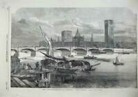 Old Antique Print 1855 Fine Art View Westminster Bridge Parliament London 19th