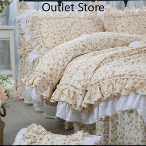 Luxury Print Bedding Set Romantic Lace Ruffle Duvet Cover Princess Bed Sheet