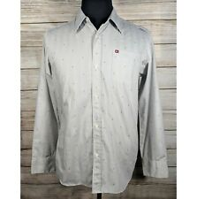 Quicksilver Slim Fit Gray Button Camp Surf Skater Long Sleeve Casual Shirt M