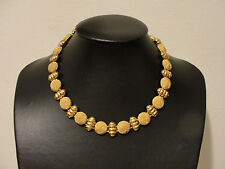 "17.5"" ribbed finish button style beads necklace goldtone"