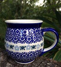 Butterflies Floral Boleslawie? HandMade Poland Pottery Coffee Cup Mug Blue White