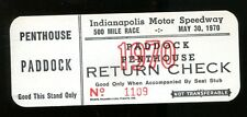 1970 Indy 500 Paddock Penthouse Return Check Ticket Indianapolis Al Unser 25709