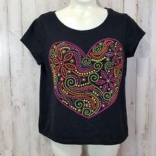 17acbcf7bc7d9 Justice Girls Top 14 Black Embellished Heart Short Sleeve T-Shirt RL3
