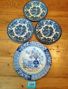 """4 Blue And White Plates 3 X Tonquin 6.75"""" Side Plate By Myott & 1 Copelands 8.5"""""""