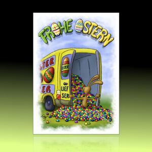 10 witzige Osterkarten, Postkarten, lustiger Cartoon, Osterpostkarten Eierhaufen