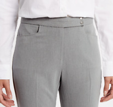 M&S Ladies Trousers Pale Grey Slim Boot Leg 2 Way Stretch 22R BNWT Marks
