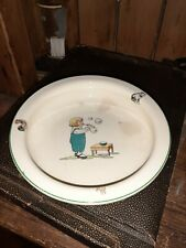 Vintage Childrens Pottery Holdfast baby plate antique display transfer ware