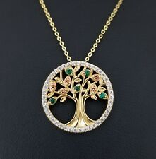 14K Yellow Gold Green Emerald & Diamond Accents Tree Of Life Pendant Necklace