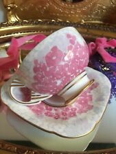 Wedgwood Harlequin Decco Bloom Teacup Saucer Pink Flowers Tea Cup Square Rare