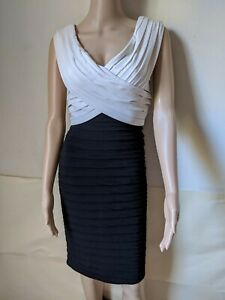 Tadashi Collection ,Sleeveless Ruched  Dress XSMALL Color Black/White