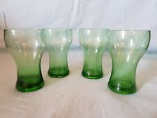 Matching Set of 4 Hand Blown Bubbled Green Glass Tumbler Glasses GC
